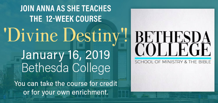 Join Anna for Divine Destiny 12-week course at Bethesda College