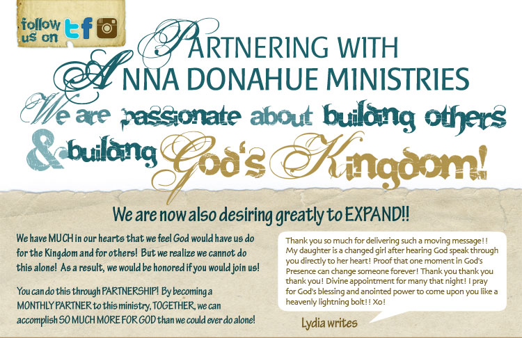 Partnerships with Anna Donahue Ministries